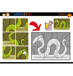 Cartoon snake puzzle game vector