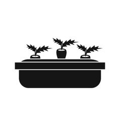 Carrots in a wooden pot icon simple style vector
