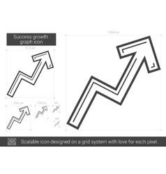 Success growth chart line icon vector