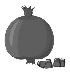 Pomegranate icon gray monochrome style vector