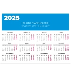 Calendar 2025 year design template vector