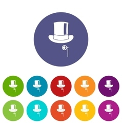 Hat with monocle set icons vector