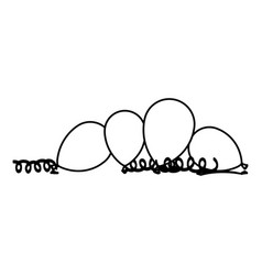 silhouette balloons with serpentine on the floor vector image