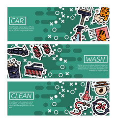 Set of horizontal banners about car wash vector
