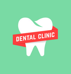 Dental clinic with red banner vector