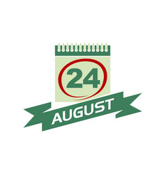 24 august calendar with ribbon vector