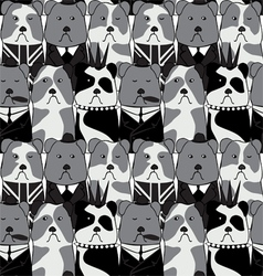 Seamless pattern with the english bulldog vector