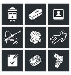 Killer icons set vector