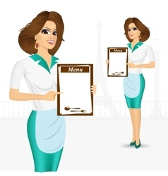 Waitress holding empty blank banner vector