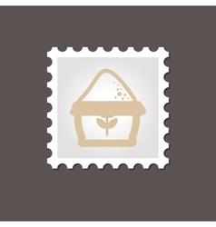 Sack of flour stamp outline vector