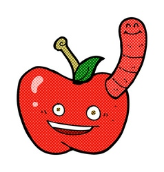 Comic cartoon apple with worm vector