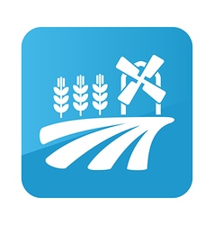 Field with a mill and wheat icon farm vector