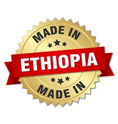 Made in ethiopia gold badge with red ribbon vector