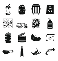 Waste and garbage icons set black style vector