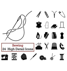 Set of 24 sewing icons vector
