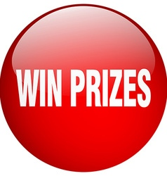 Win prizes red round gel isolated push button vector