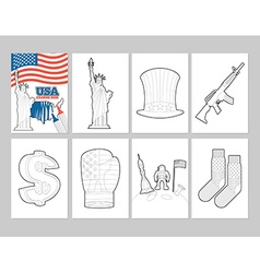Usa coloring book patriotic in linear style of pa vector