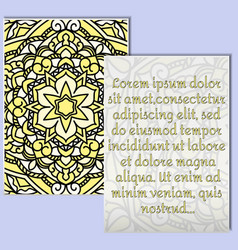 A beautiful leaflet with a yellow mandala pattern vector