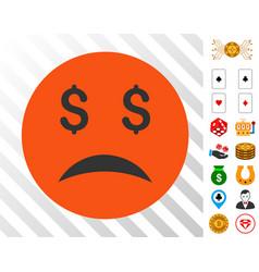Bankrupt smiley icon with bonus vector