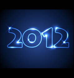 Blue neon new year card 2012 vector