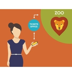 Booking tickets to zoo vector image vector image