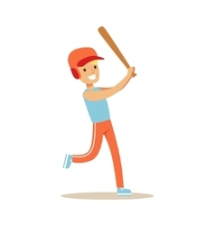 Boy Playing Baseball Kid Practicing Different vector image