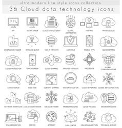 Cloud data technology ultra modern outline vector