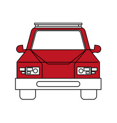 Color silhouette cartoon red front view car vector