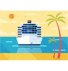 Cruise ship in sea front view vector