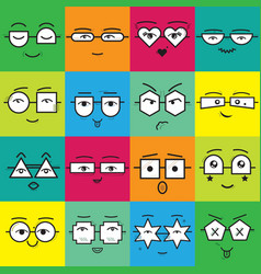 cute colorful square stickers emoticons faces vector image