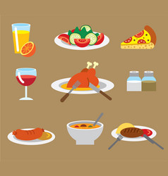 dinner flat icons vector image