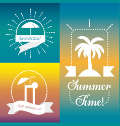 Emblem of summer icon over colorful background vector