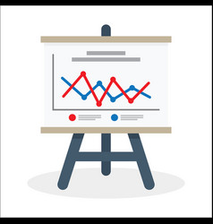 flipchart whiteboard screen with marketing data vector image vector image