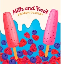 Fruit and berry ice cream vector