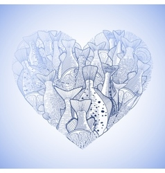 Graphic ocean fish in the shape of heart vector image