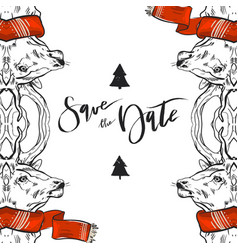 hand drawn graphic merry christmas save the vector image