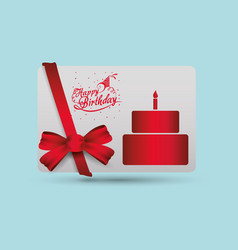 Happy birthday card cake ribbon bow decorative vector