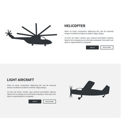 Helicopter and light aircraft set of black banners vector