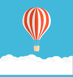 hot air balloon in the sky red striped air vector image vector image
