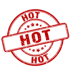 Hot red grunge round vintage rubber stamp vector