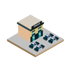 Isometric police station icon vector