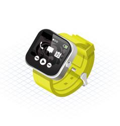 Isometric smart watch with yellow wrist band vector