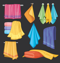 kitchen and bath hanging and folding towels vector image