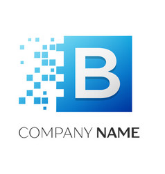 Letter b logo symbol in the colorful square with vector