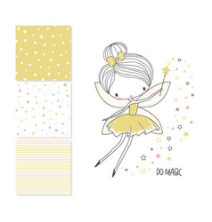 Little fairy surface design and 3 seamless vector