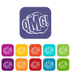 Omg comic text speech bubble icons set flat vector
