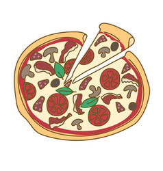 Pizza hand drawn doodle color vector