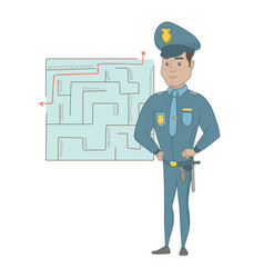 Policeman looking at labyrinth with solution vector