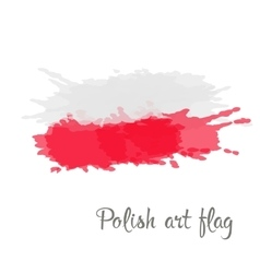 Polish flag painted by brush hand paints vector image