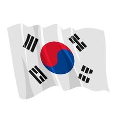 political waving flag of south korea vector image